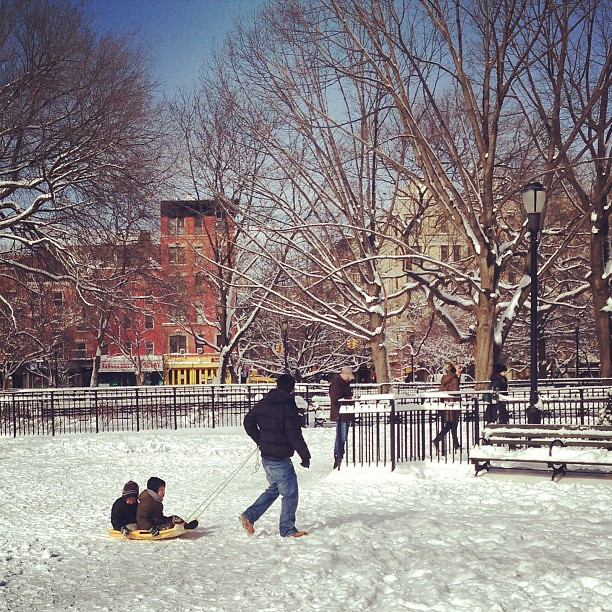 Dad taking kids sledding in Tompkins Square Park Nemo