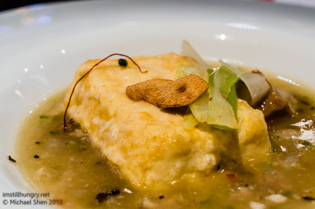 Ocean Room Agedashi mapo artisan tofu - golden silken tofu, Japanese inspired mapo sauce, umami-rich flavour