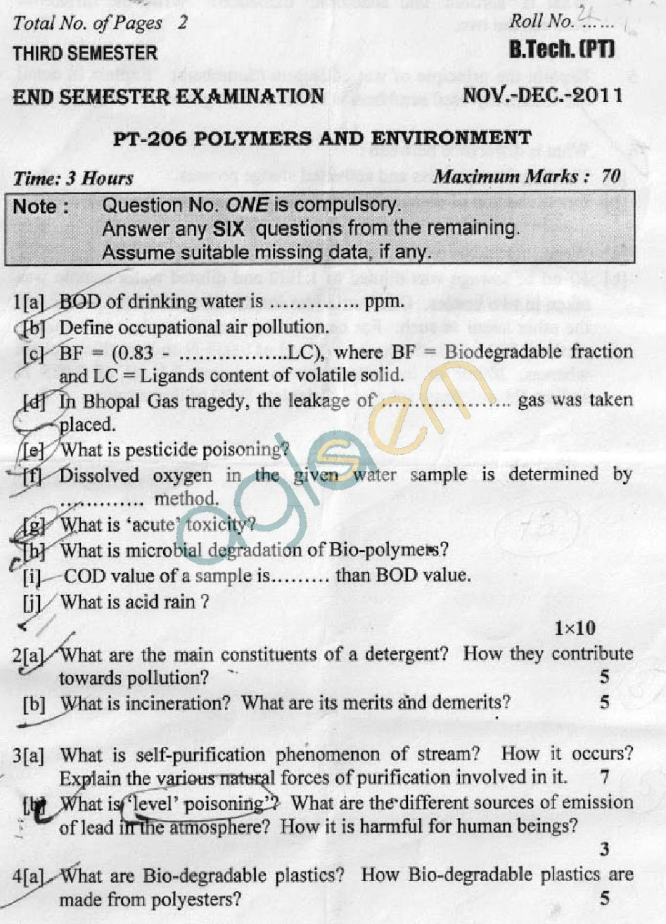 DTU Question Papers 2011 - 3 Semester - End Sem - PT-206