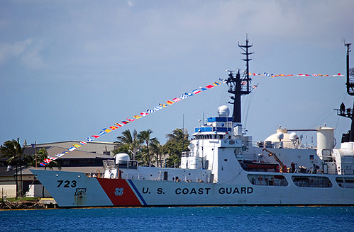 USCGC Rush with flags