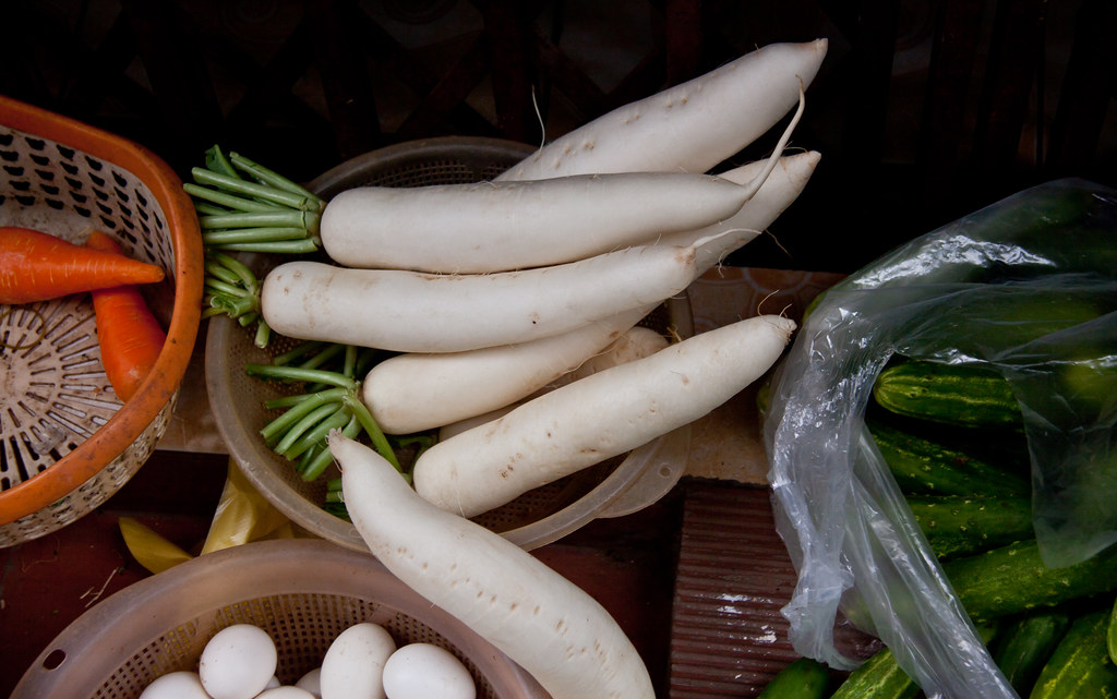 Daikon & Other Vegetables for Sale in the Old Quarter - Hanoi, Vietnam