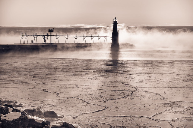 lighthouse, fog, Ice, Algoma, Wisconsin, WI, Monochrome, B&W, Black and White, Mist, Lake Michigan