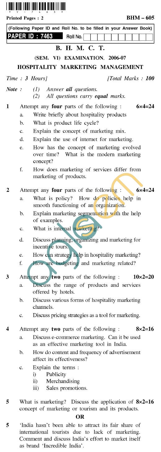 UPTU BHMCT Question Papers -BHM-605-Hospitality Marketing Management