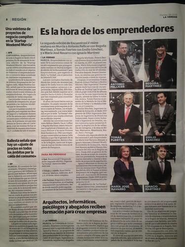 En el periódico La Verdad - «Es la hora de los emprendedores»