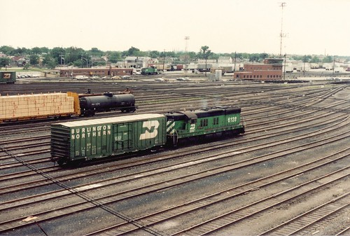 A Burlington Northern EMD SD 9 switching at Clyde Yard.  Cicero Illinois.  June 1985. by Eddie from Chicago