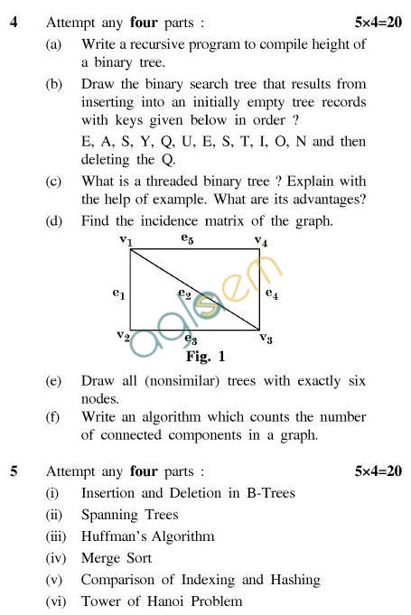 UPTU B.Tech Question Papers - CS-402-Data Structures Using 'C'