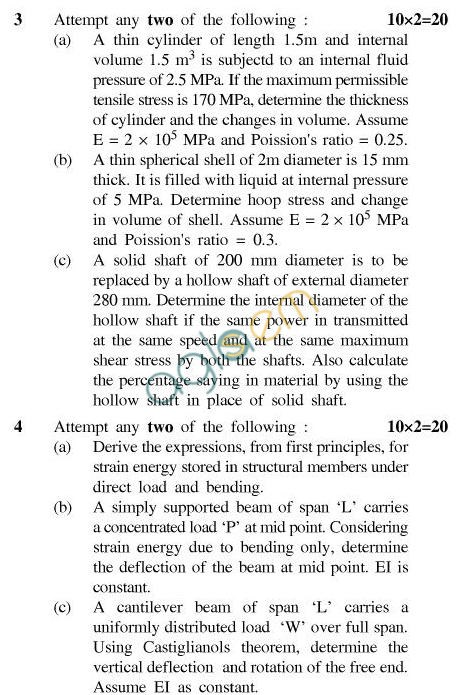 UPTU B.Tech Question Papers - TEN-402-Structural Analysis
