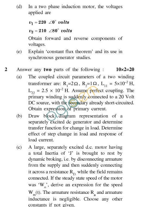 UPTU B.Tech Question Papers - EE-034-Modeling & Simulation of Electrical Machines