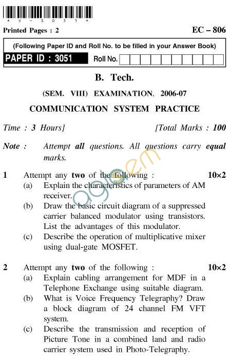 UPTU B.Tech Question Papers -EC-806-Communication System Practics