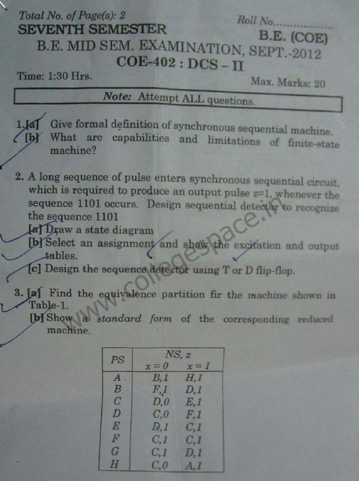 NSIT Question Papers 2012 – 7 Semester - Mid Sem - COE-402