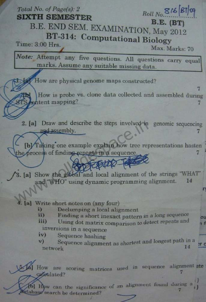 NSIT Question Papers 2012 – 6 Semester - End Sem - BT-314