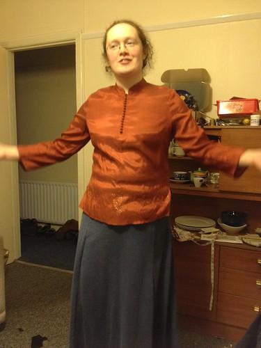 Urizen test, orange shirt and blue dress