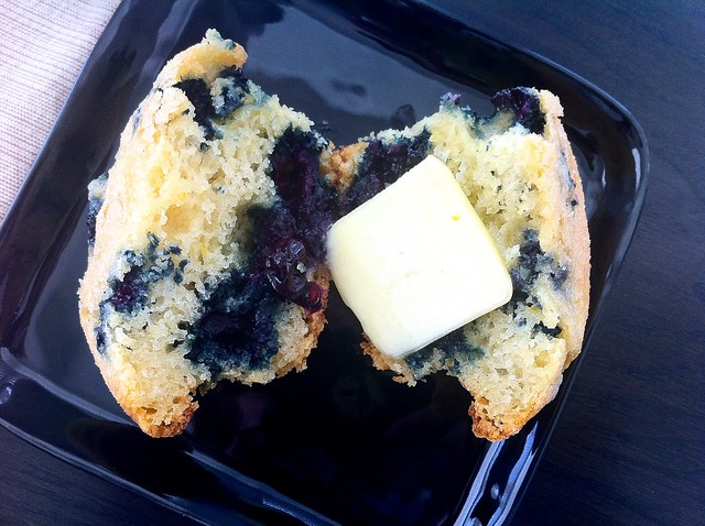 Homemade Blueberry Muffins with Butter