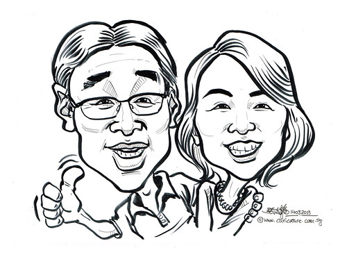 Mr and Mrs Morihiko Nagaguchi live caricatures