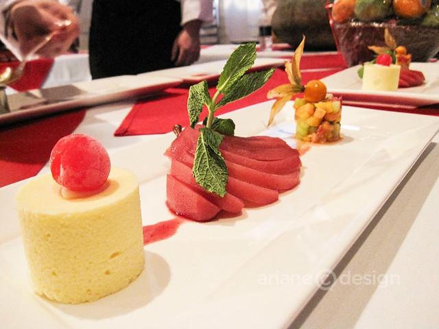 Tivoli's Restaurant: Port-poached Bartlett pear, white chocolate cherry parfait, fruit salsa