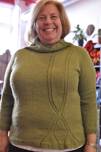 Lisa in Gingko Sweater