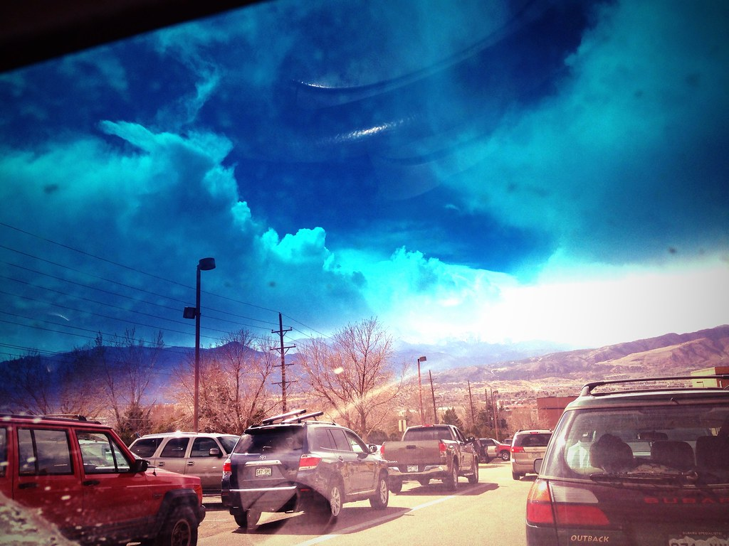Pikes Peak through my windshield.