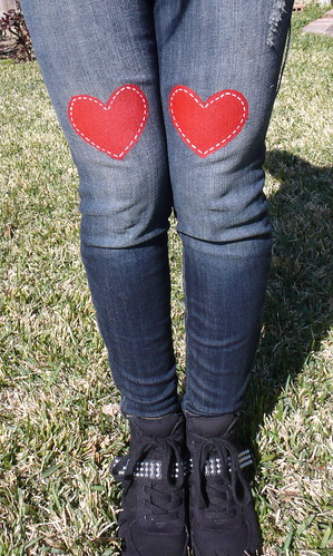 Painted Red Heart Jeans DIY
