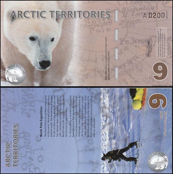 9 Polárnych dolárov Arktída 2012, polymer