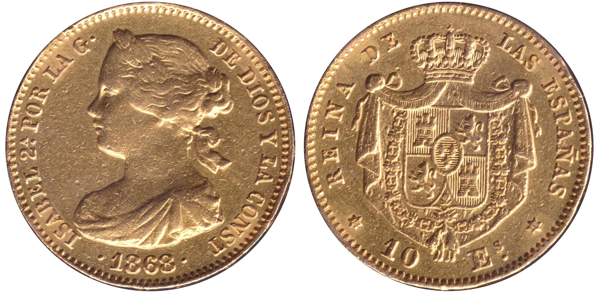 10 Escudos de Isabel II de 1868 y 25 Pesetas de Alfonso XII de 1881. 8618342411_b861ee9e1c_k