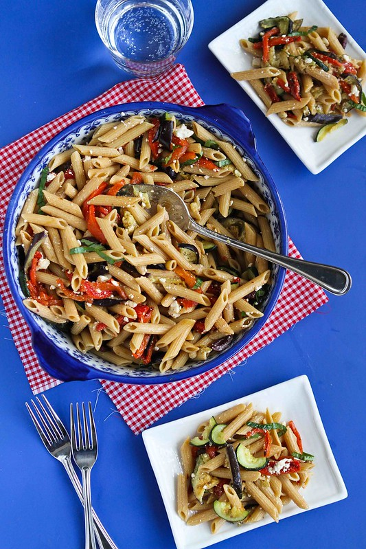 Roasted Vegetable Pasta Salad Recipe with Eggplant, Zucchini & Feta Cheese | cookincanuck.com #recipe #vegetarian #pasta