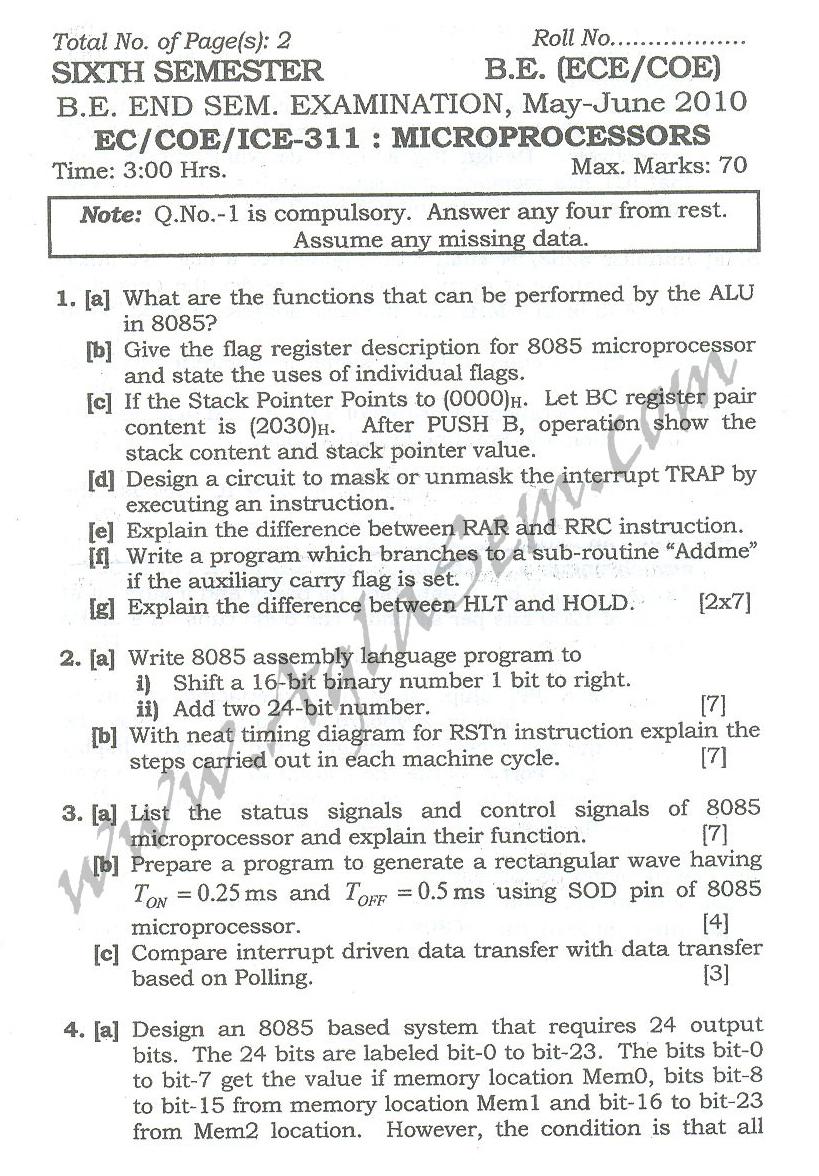 DTU Question Papers 2010 – 6 Semester - End Sem - EC-COE-ICE-311