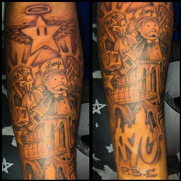 Nyc monopoly man money diamonds stars bridge for Club ink tattoo brooklyn
