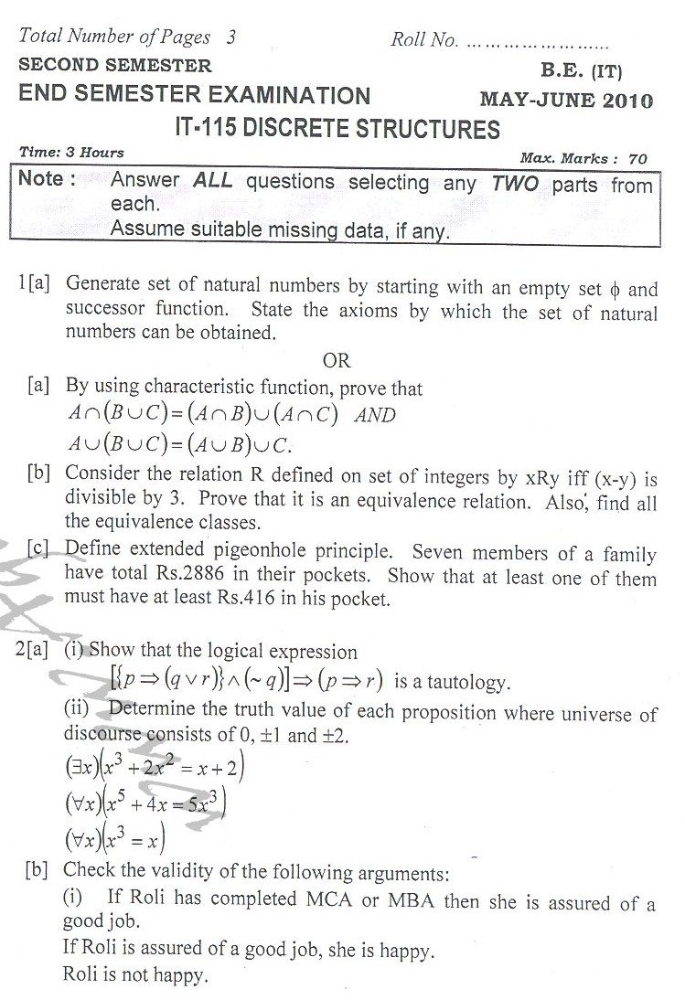 DTU Question Papers 2010 – 2 Semester - End Sem - IT-115