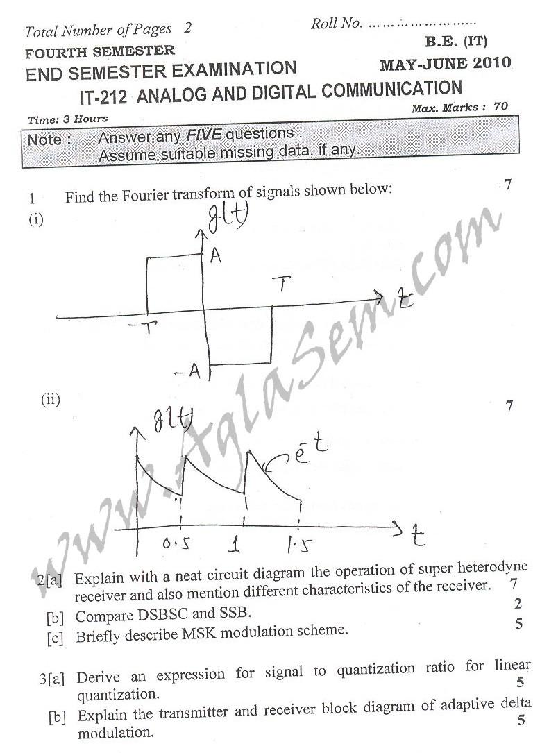 DTU Question Papers 2010 – 4 Semester - End Sem - IT-212