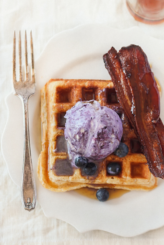 Brown Butter Waffles with No-Churn Blueberry Ice Cream