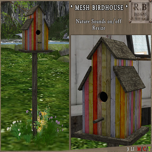NEW - LIMITED PROMO ! *RnB* Mesh Birdhouse v1 - Spring (sounds on-off)(copy)