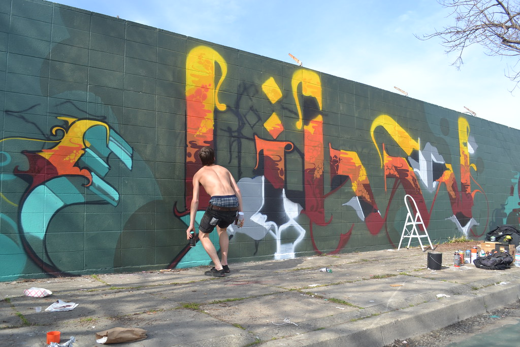 JIHAD, PI, OH, Graffiti, Street Art, Oakland, Action Shot,