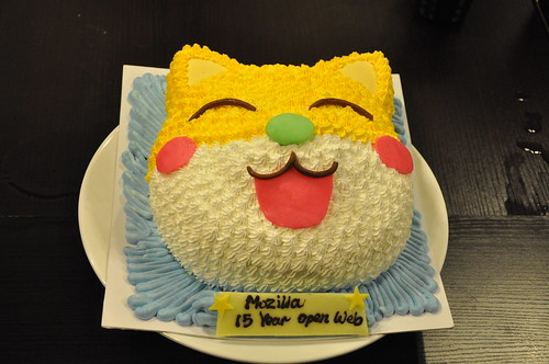 a 3D cake celebrating Mozilla 15-year Open Web at mini party in Hong Kong.
