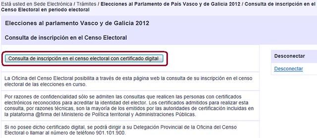 Botón Consulta de inscripción en el censo electoral con certificado digital