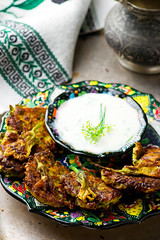 vegetable marrows fritters with joghurt
