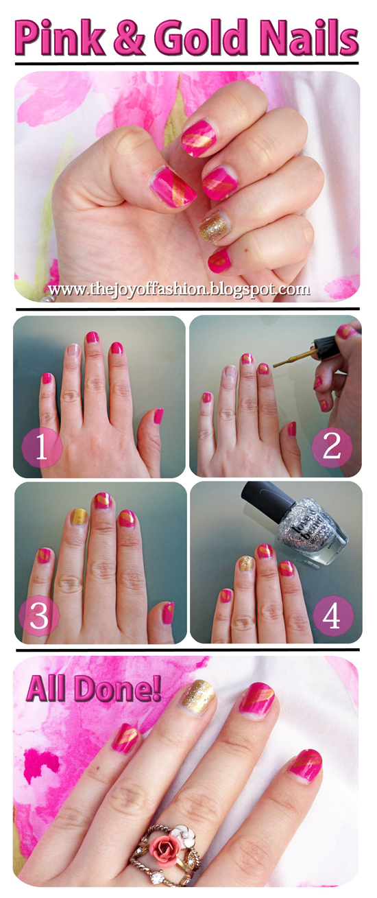 Pink & Gold Nails Tutorial