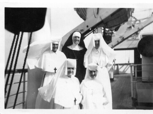 "September 1947. Disembarking from the M.V. ""Accra"" in Takoradi were Srs. Joseph Mary Connolly, Bríd Mulhern, Síle Gillespie and Anglican Sisters"