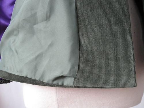 Olive jacket hem lining