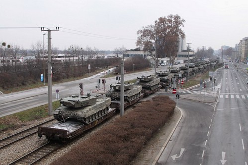 Tail end of the train load of Austrian Leopard 2 main battle tanks