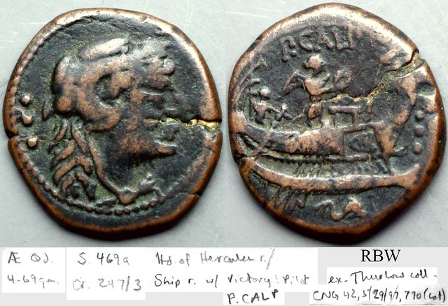 247/3 Calpurnia Quadrans. P.CALP Hercules, Ship, Victory stands above, pilot at left, dolphin below, ROMA on side of ship. AM#1350-47, 4g69