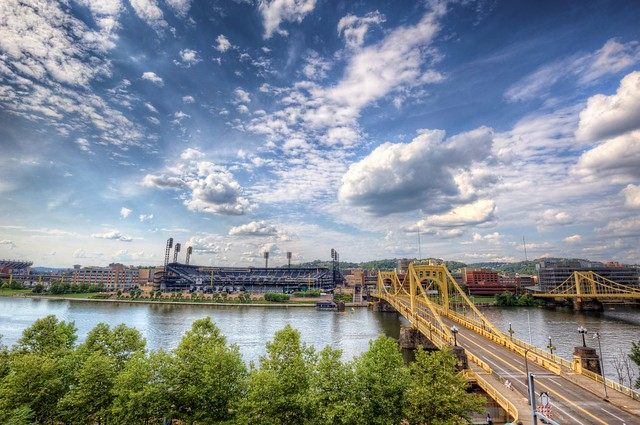 View of PNC Park on a beautiful summer day HDR