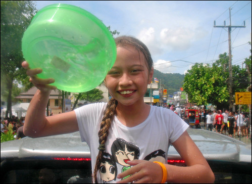 Our daughter having fun - Songkran 2009, Patong Beach Phuket