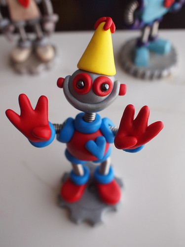 Work in Progress: Robot 6th Birthday Cake Topper by HerArtSheLoves