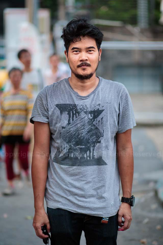 Portrait of Thai artist Rukkit Kuanhawate @ Bukruk Street art festival, Bangkok, Thailand