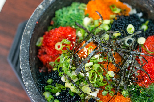 Fish Roe Rice in Hot Stone Bowl - Go Hyang Jib Korean Restaurant