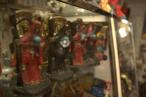 Santa Muerte Figurines in the Botanica of Templo Santa Muerte in Los Angeles