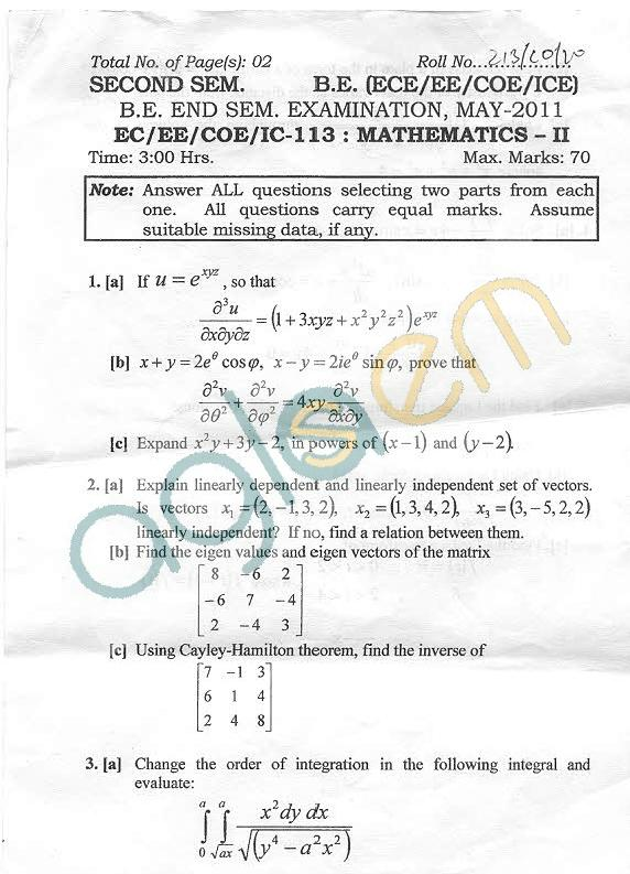 NSIT: Question Papers 2011 – 2 Semester - End Sem - EC-EE-COE-IC-113