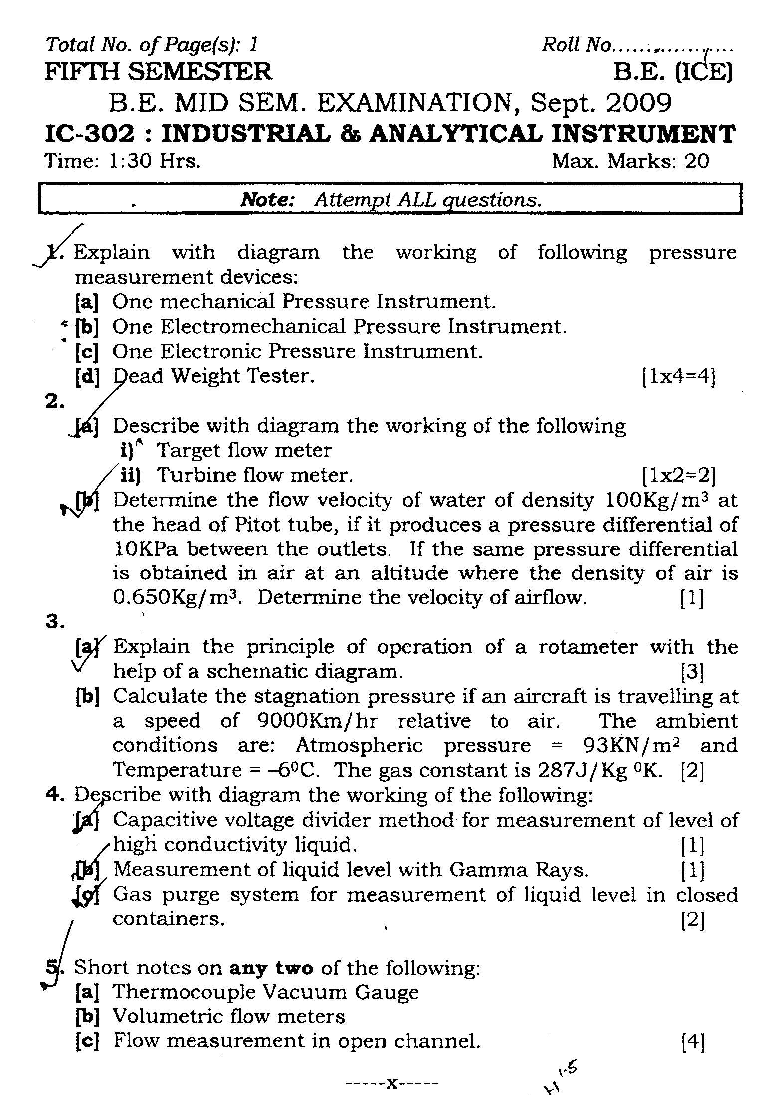 NSIT: Question Papers 2009 – 5 Semester - Mid Sem - IC-302