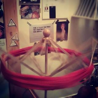 Winding yarn.