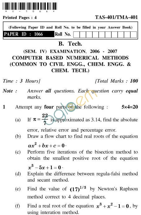 UPTU B.Tech Question Papers - TAS-401/TMA-401-Computer Based Numerical Methods